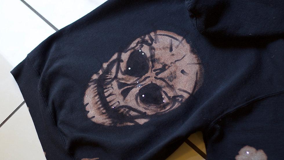 Skull Bleach-Dye handmade sweatshirt