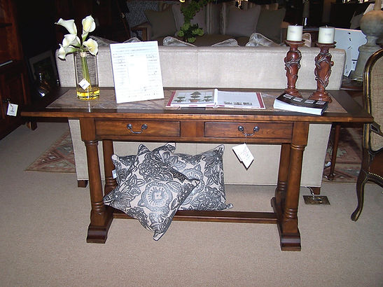 Clearance furniture sale skirted couch and small deep river coffee table. Best furniture store online.