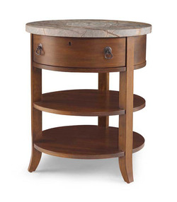 Compass Chairside Table Etched Stone