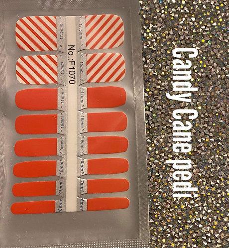 Candy cane pedi