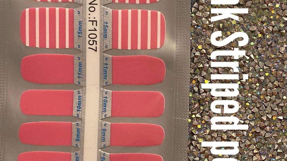 Pink stripped pedi