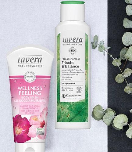 Lavera- Gel doccia nutriente alla rosa & shampoo rinfrescante per capelli grassi