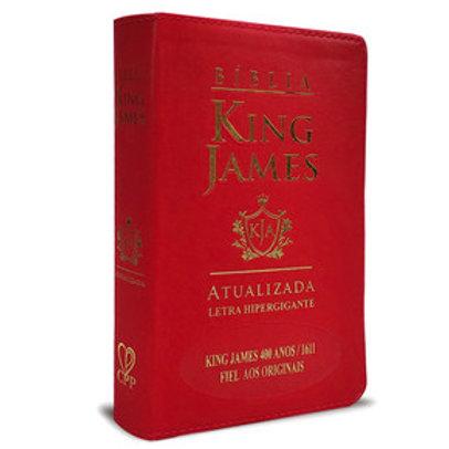 Bíblia king James atualizada 400 anos - Hiper Gigante - luxo vermelha