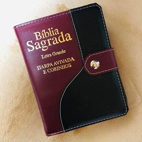 Bíblia c/harpa letra grande c/caneta vinho e preta