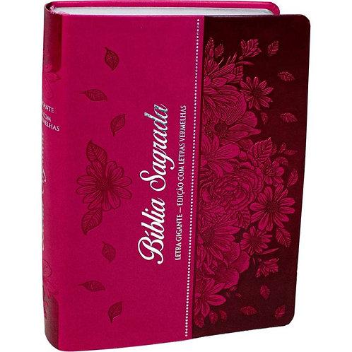 Bíblia Sagrada Letra Gigante Almeida Revista e corrigida Pink