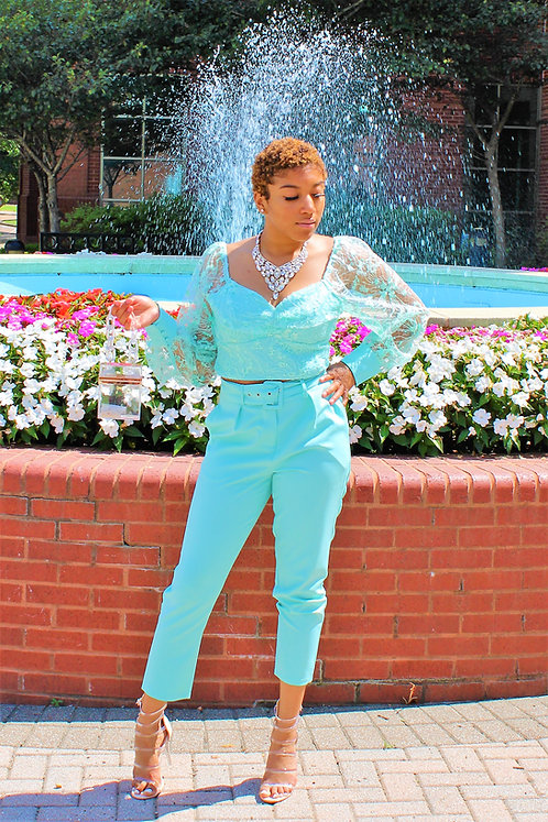"""Mint to Be"" Lace Pant Set"