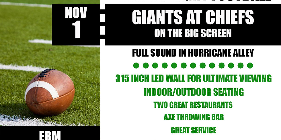 MONDAY NIGHT FOOTBALL: Giants vs. Chief