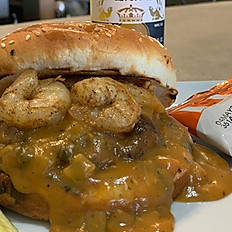 Shrimp Etoufee Burger