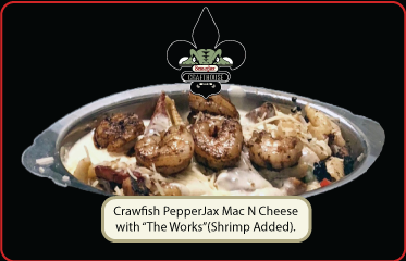 Crawfish PepperJax Mac N Cheese w The Works