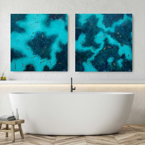 Snorkelers on the reef 1 & 2, price pr. Painting