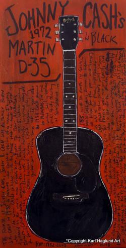 Johnny Cash black acoustic painting