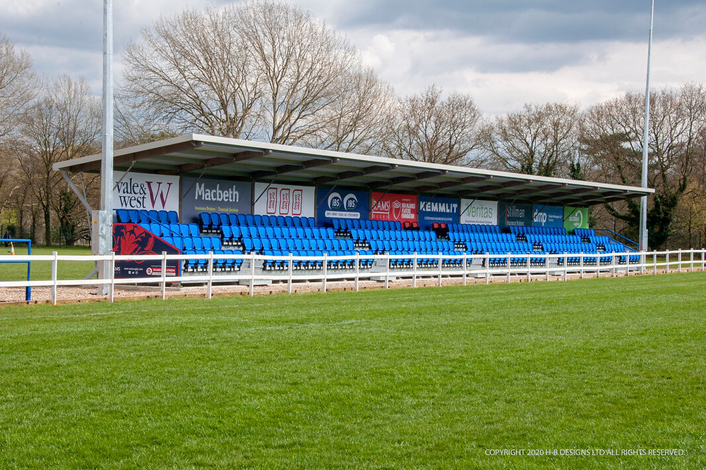 Pitchside grandstand with two hundred and seventy two seats