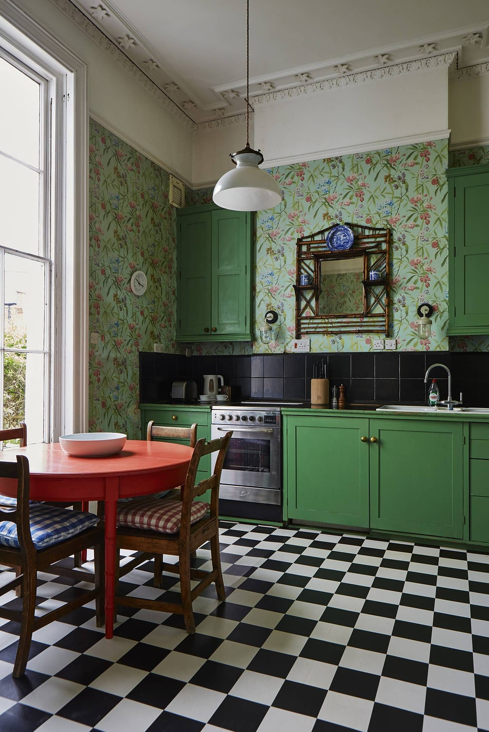 Green Kitchen with scribed decor panels