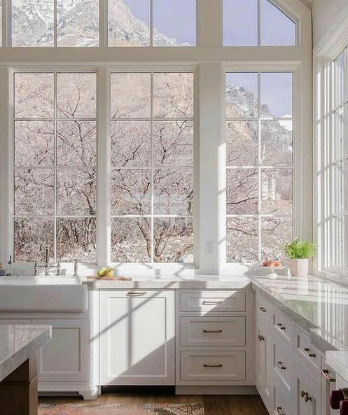 white kitchen, snow windows