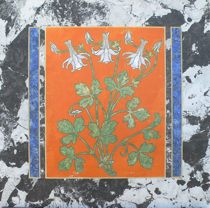 Piano tavolo fiori (cm 61 x 66).