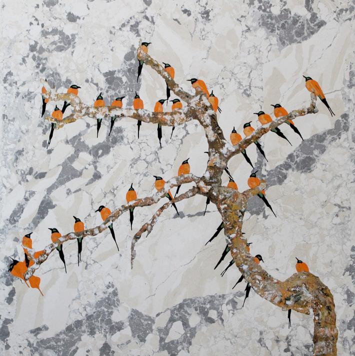 Piano tavolo uccellini (cm 61 x 66).