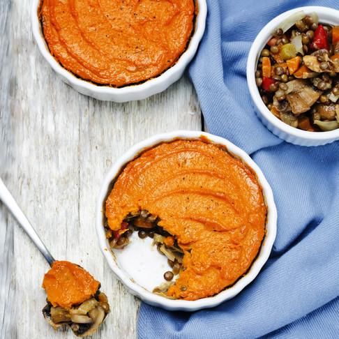 Lentil, Mushroom & Pea Pie