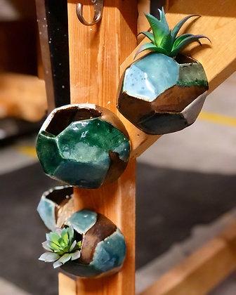 Teal & Gold Gemstone Planter pods
