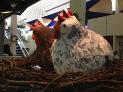 Papier Mache chickens