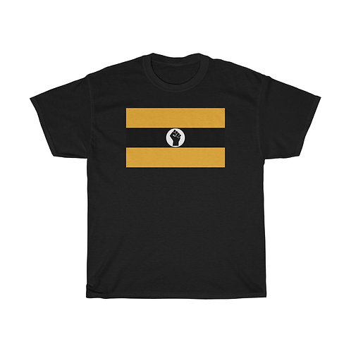Black and Gold Raised Black Fist Flag T-Shirt