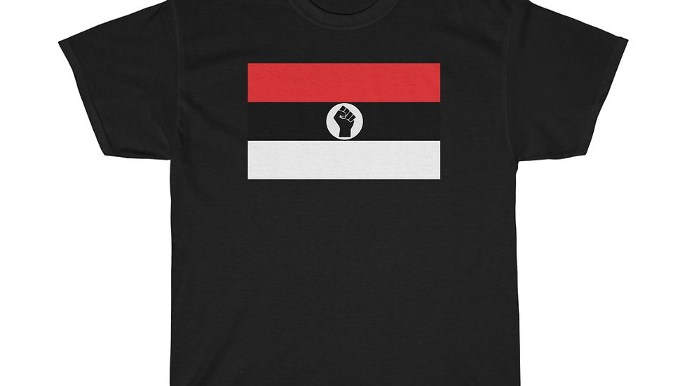 Red and White Raised Black Fist Flag T-Shirt