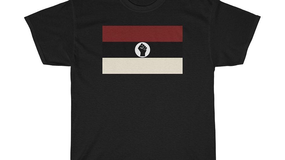 Crimson and Cream Raised Black Fist Flag T-Shirt
