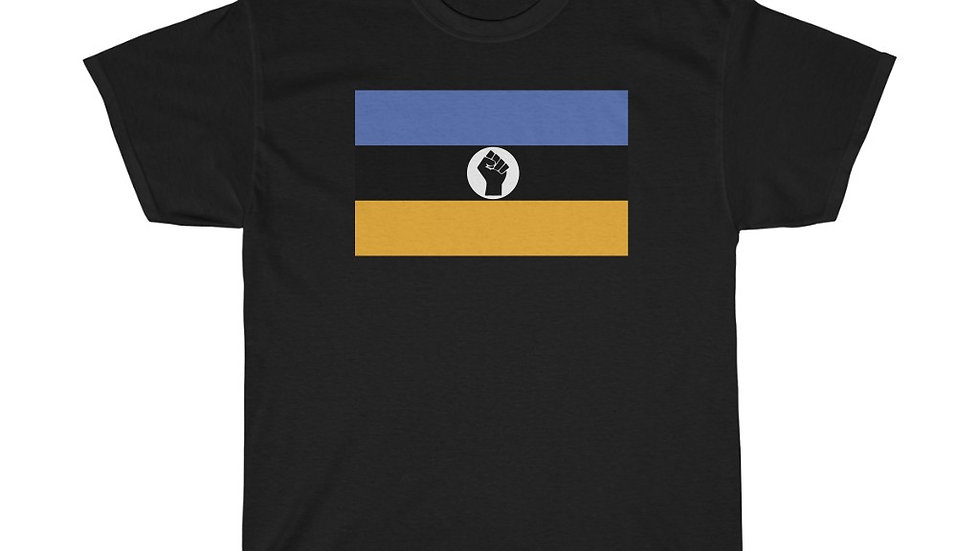Royal Blue and Gold Raised Black Fist Flag T-Shirt