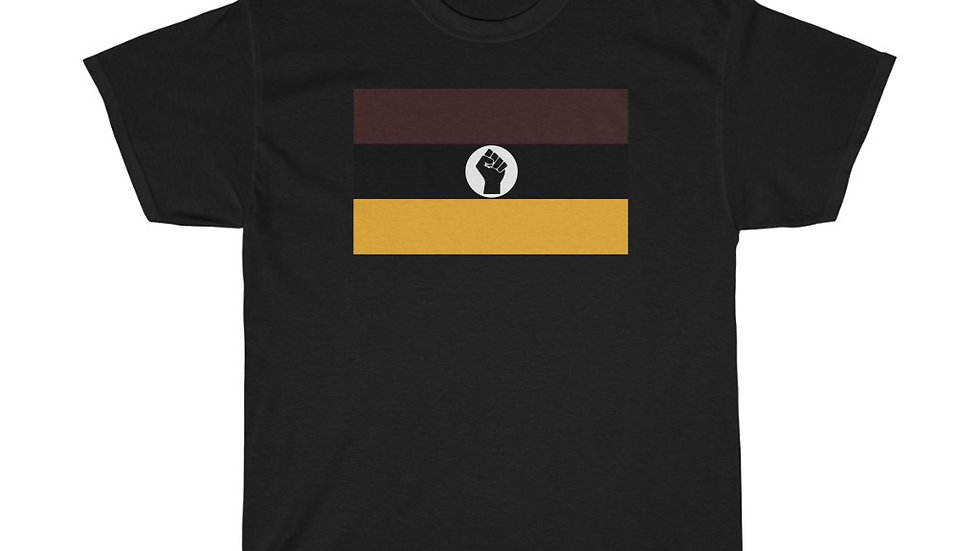Charcoal Brown and Gold Raised Black Fist Flag T-Shirt