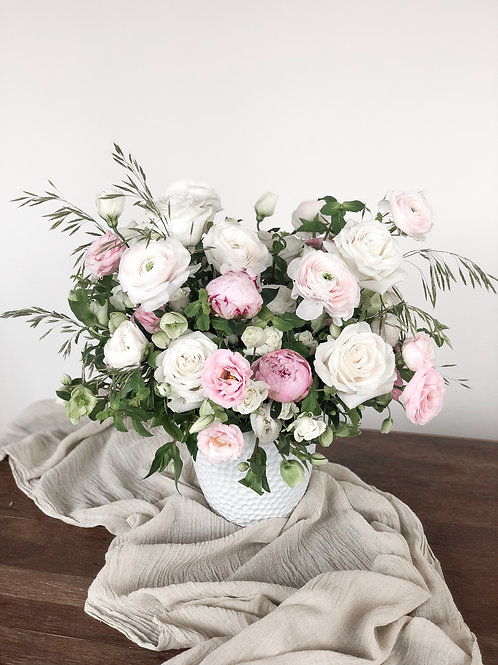 Big flower arrangement including vase