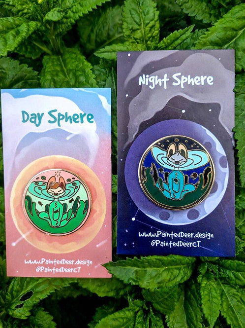 Day and Night Sphere enamel pin