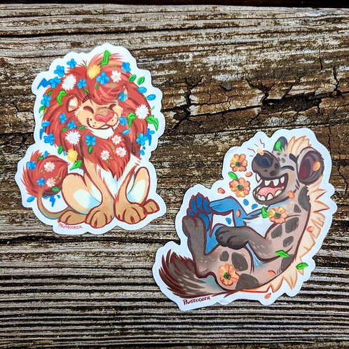 Hyena and Lion vinyl stickers