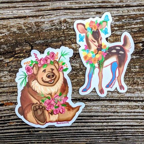 Bear and Deer vinyl stickers