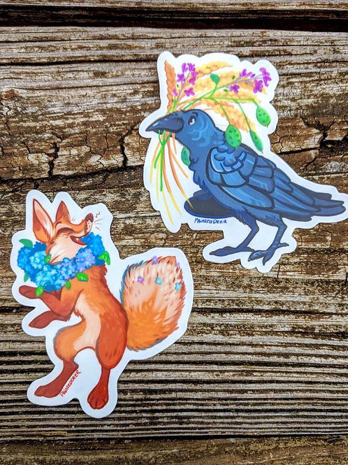 Crow and Fox vinyl stickers