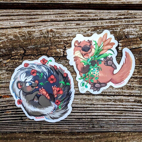 Skunk and Otter vinyl stickers