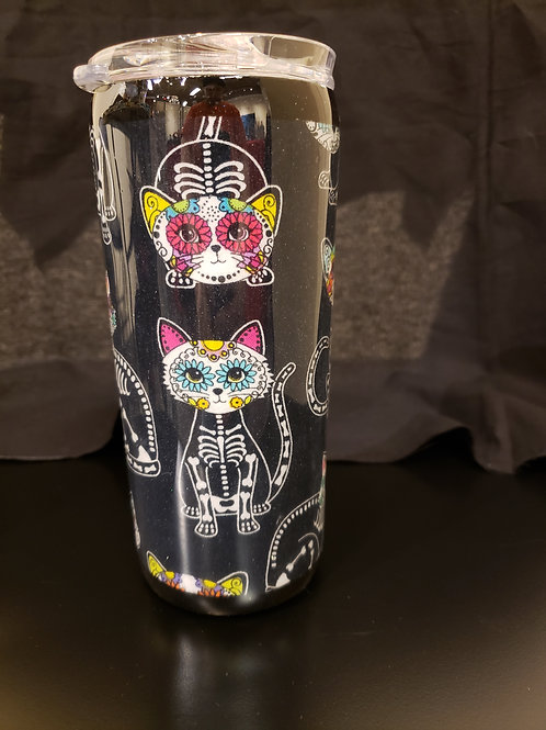 15 oz Skelecat Fabric Tumbler