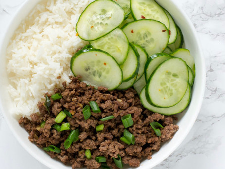Korean-Style Beef Rice Bowl with Cucumbers
