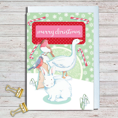 Christmas Card Packs Code NoteAR022 Christmas White Rabbit 2 designs 6 cards