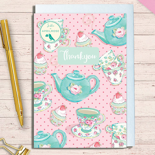 Set of 6 Notelet Packs Code NoteAR08 Teapot Blue