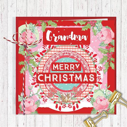 Christmas Range Greeting Card Blank inside set of 6 Code AR075GRAN Grandma