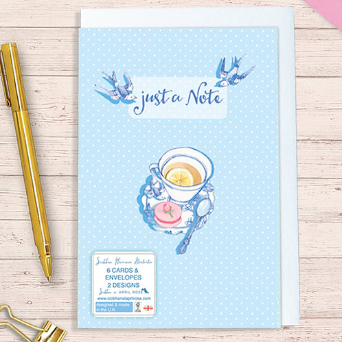Set of 6 Notelet Packs Code NoteAR015 Willow Pattern Love Birds