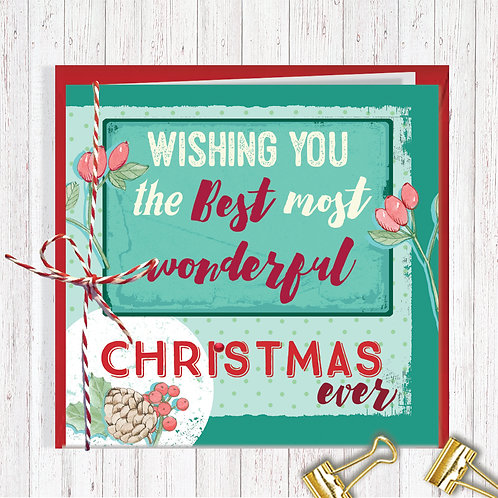 Christmas Range Greeting Card Blank inside set of 6 Code AR066WON Wonderful