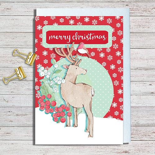 Christmas Card Packs Code NoteAR021 Christmas Reindeer Set of 6 Packs