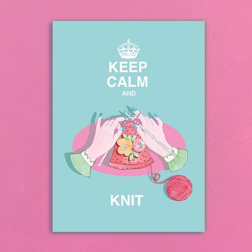 Keep Calm & Knit Postcards set of 12