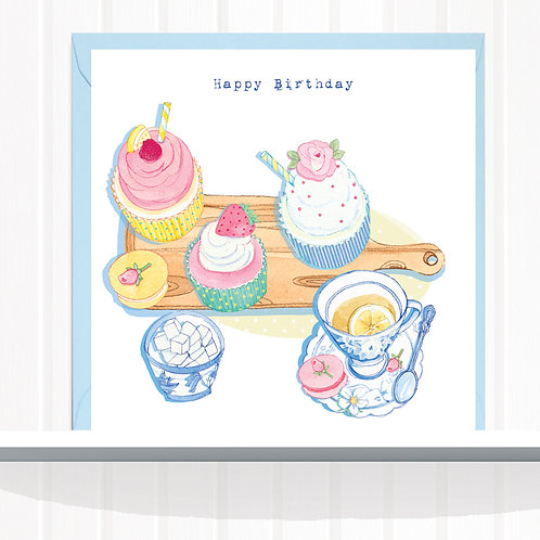 Willow Love Birds Range Greeting Card set of 6 code AR0141CUP Cupcakes