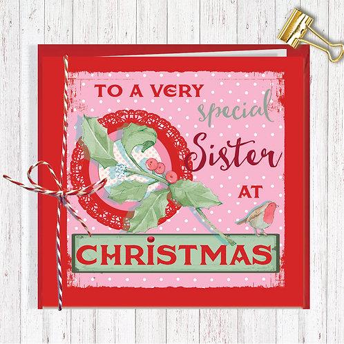 Christmas Range Greeting Card Blank inside set of 6 Code AR069SIS Sister