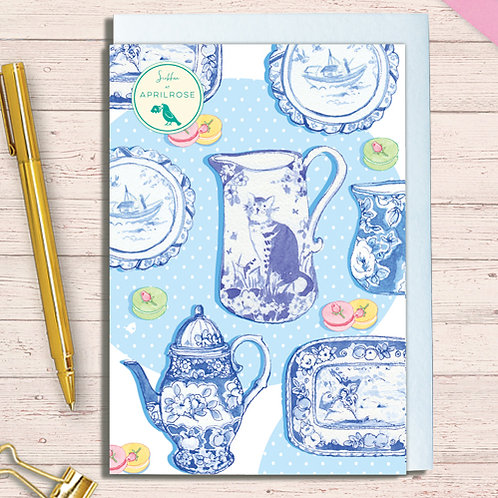 Set of 6 Notelet Packs Code NoteAR017 Willow Pattern Ceramic Cat