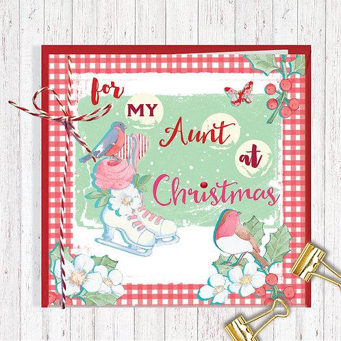 Christmas Range Greeting Card Blank inside set of 6 Code AR076AUN Aunt