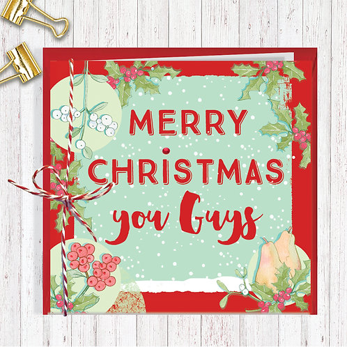 Christmas Range Greeting Card Blank inside set of 6 Code AR072YOU You Guys