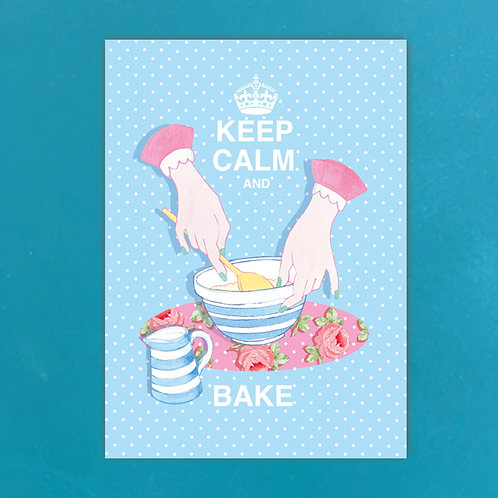 Keep Calm & Bake Postcards set of 12