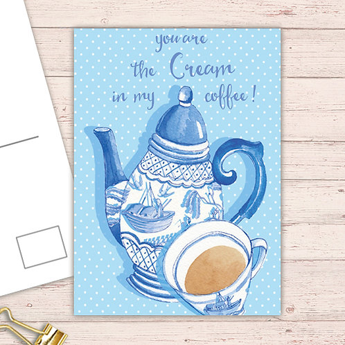 Willow Love Birds Range Postcard  set of 12 CodePOSTCOF25 Coffee